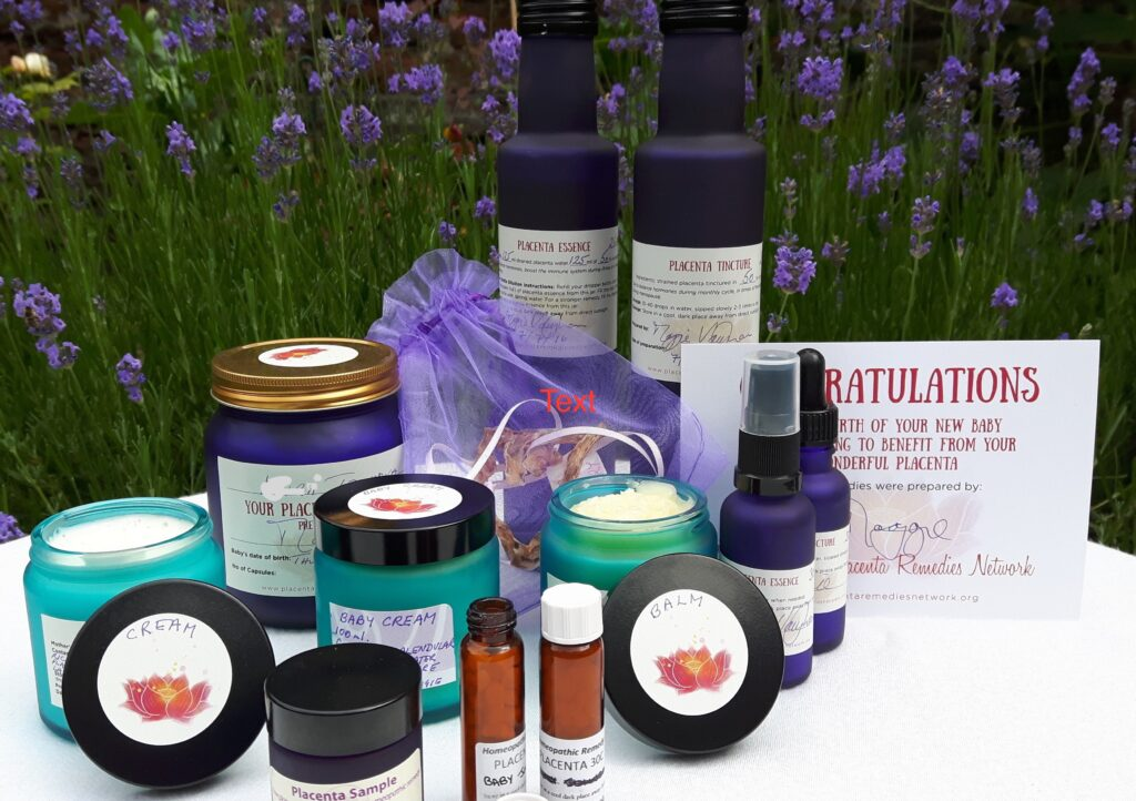 Picture of a range of placenta products including tinctures and balms